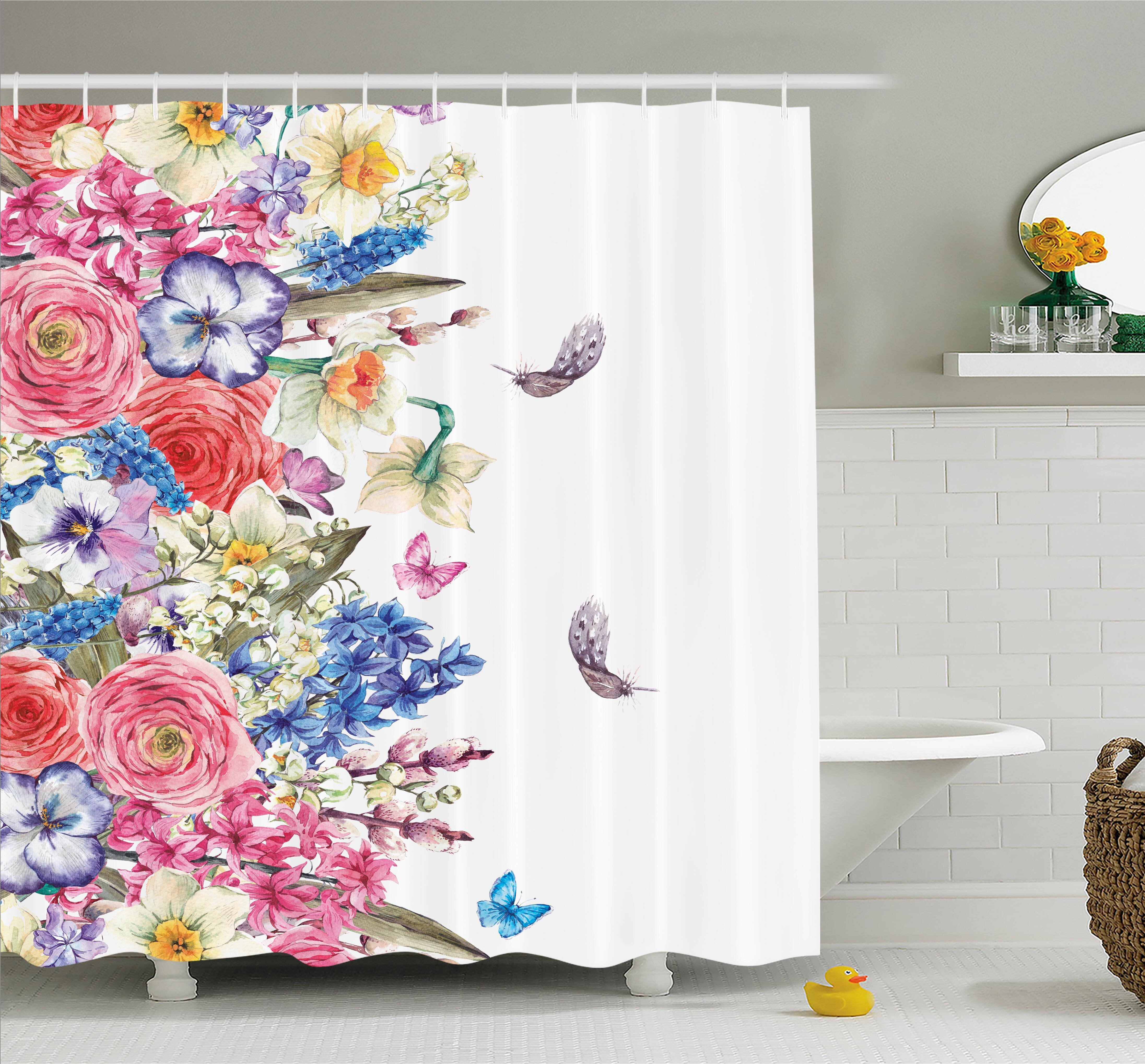 Polyester Fabric Spring Butterfly Flowers Shower Curtain Liner Bathroom Mat Set