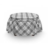 Monochrome and Diagonal Ottoman Slipcover (Set of 2) by East Urban Home