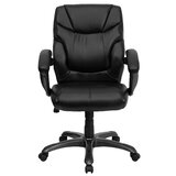 Embroidered Mid-Back Overstuffed Swivel with Arms Ergonomic Executive Chair by Flash Furniture