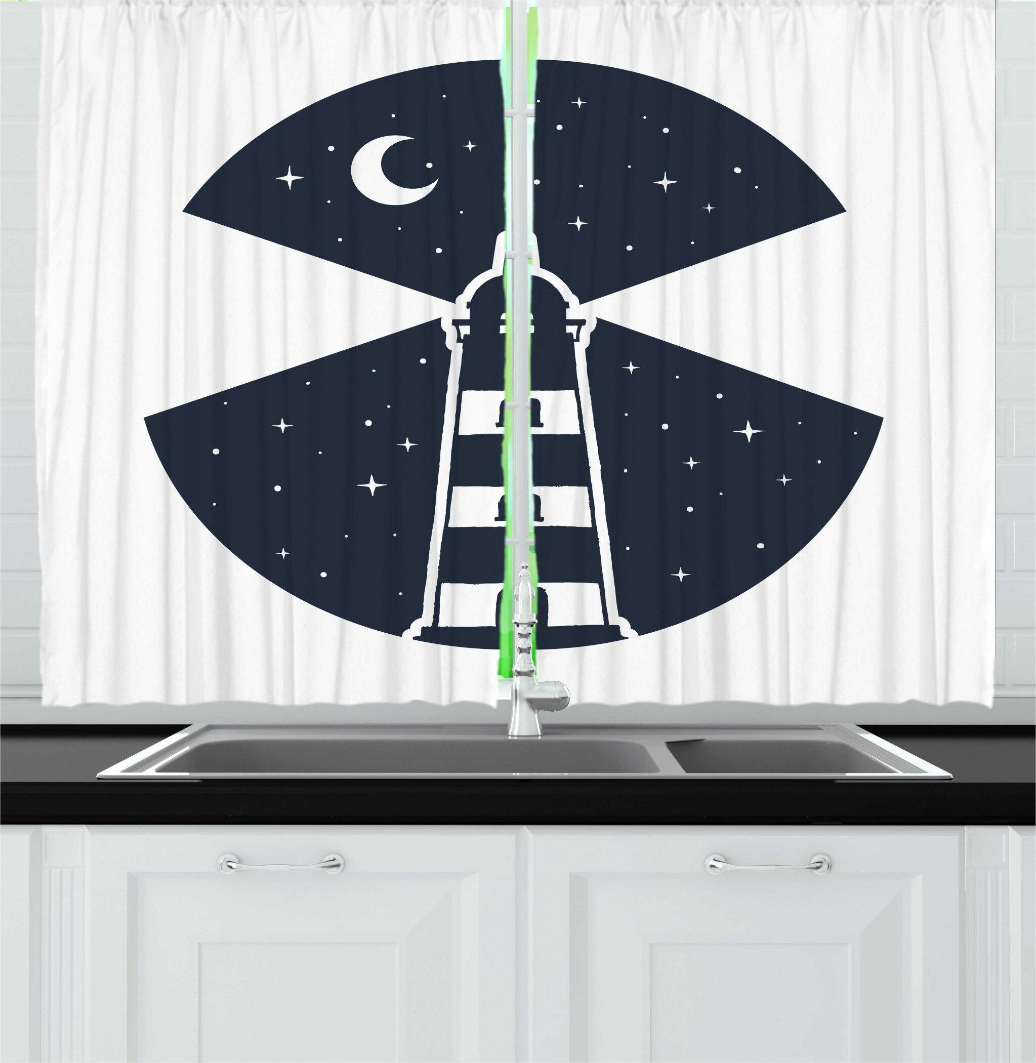 East Urban Home 2 Piece Vintage Nautical Tattoo Lighthouse At Starry Moon Night Illustration Kitchen Curtain Set Wayfair