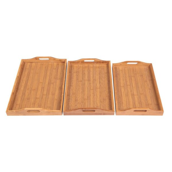 Corrigan Studio Glenville Bamboo Wood 3 Piece Coffee Table Tray Set Wayfair