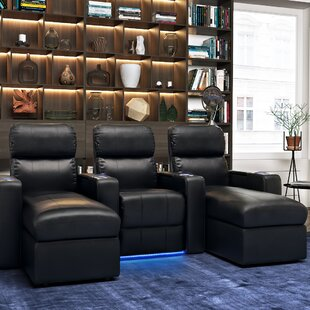 Contemporary Upholstered Leather Home Theater Sofa (Row of 3)