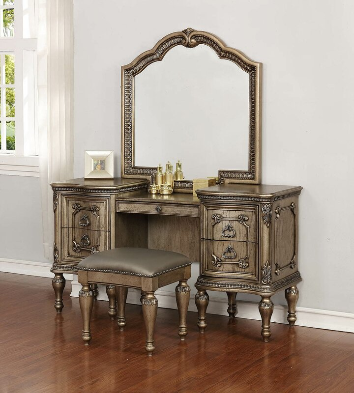 folding tri drawers bench vanities table fold with set mirror white wood and dresser pin vanity makeup