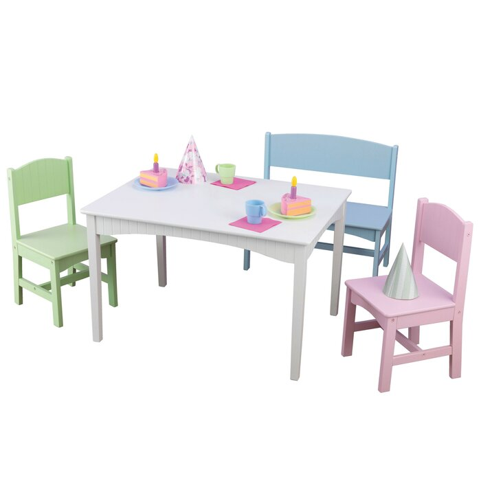 Enjoyable Nantucket Kids 4 Piece Writing Table And Chair Set Andrewgaddart Wooden Chair Designs For Living Room Andrewgaddartcom