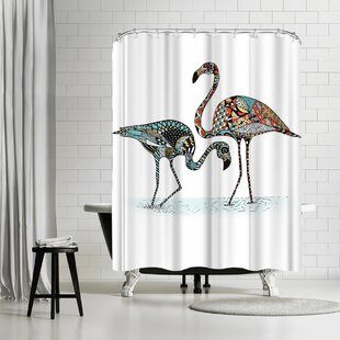East Urban Home Patricia Pino Flamingos Shower Curtain