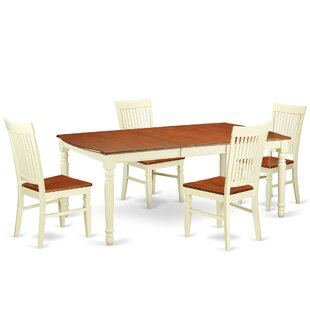 Pimentel 5 Piece Extendable Solid Wood Dining Set August Grove