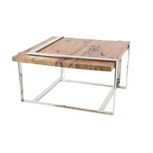 17 Stories Queena Modern Stainless Steel And Wood Coffee Table With Angled  Frame