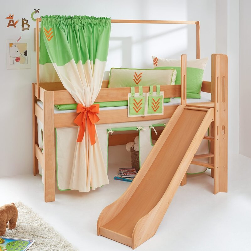relita halbhochbett leo mit rutsche und ber eck gebauter leiter 90 x 200 cm. Black Bedroom Furniture Sets. Home Design Ideas