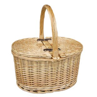Buff Oval Picnic Basket By Beachcrest Home