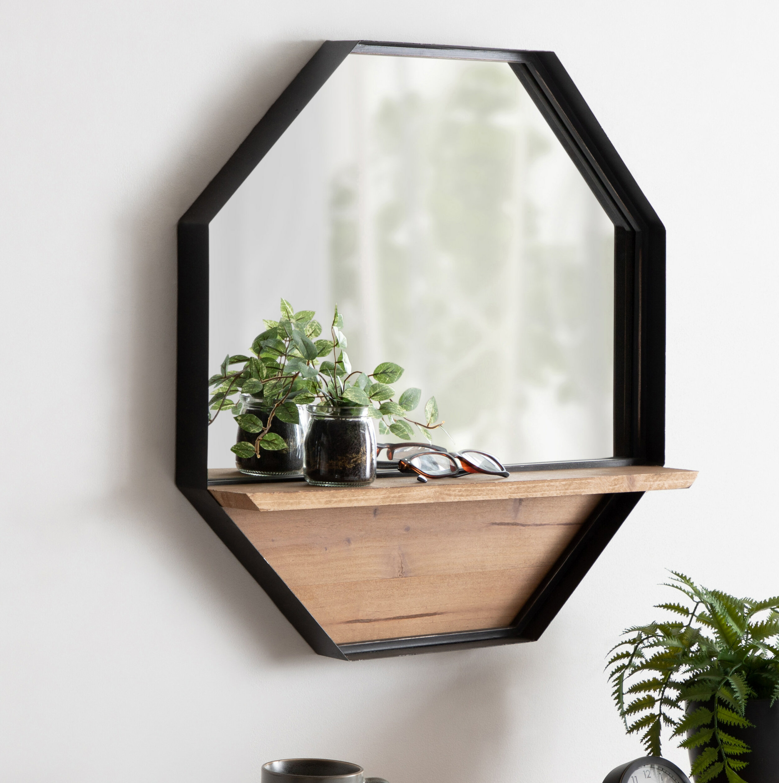 17 Stories Stingley Rustic Farmhouse Metal Octagon Beveled Frameless Accent Mirror With Shelves Reviews