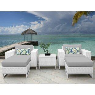 TK Classics Miami 5 Piece Conversation Set with Cushions
