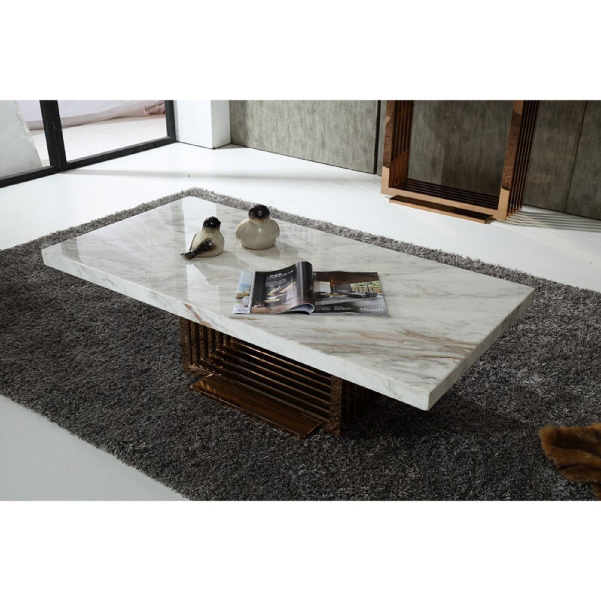 Benzara Contemporary Style Metal Base Coffee Table With Marble Top White And Gold Wayfair [ 2000 x 2000 Pixel ]