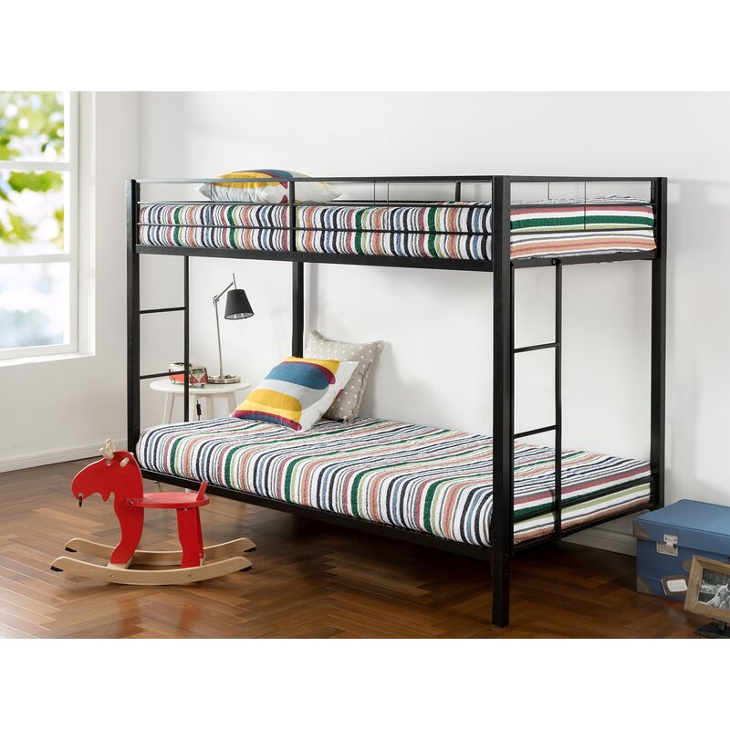 Kline Classic Twin Bunk Bed with Dual Ladder