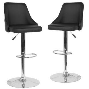 Glencoe Adjustable Height Bar Stool (Set of 2) Wrought Studio