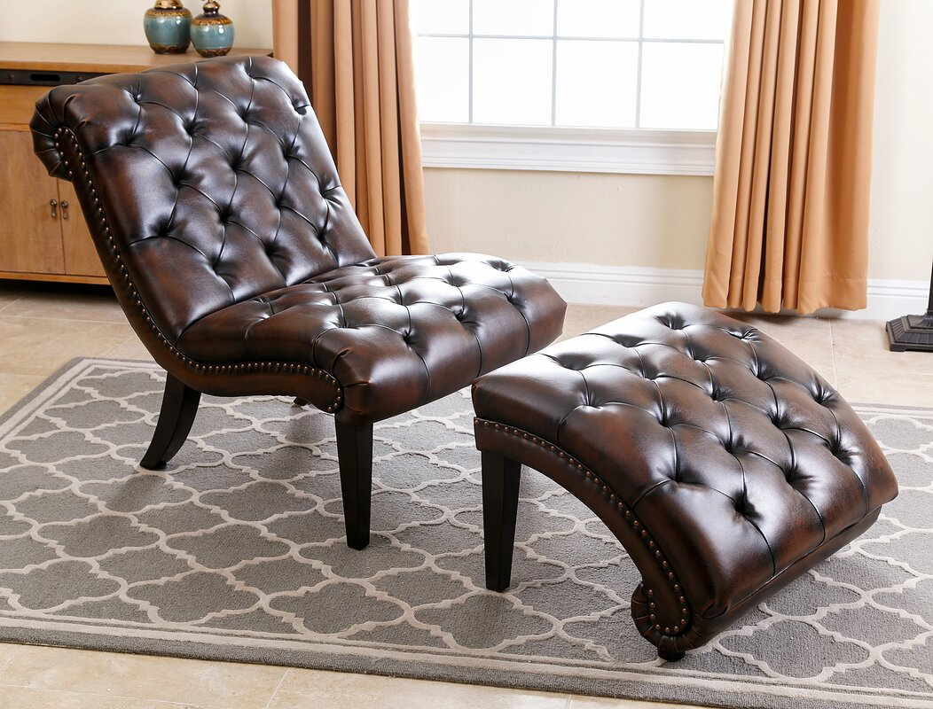 Darby Home Co Delbert Leather Chaise Lounge and Ottoman & Reviews