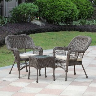 Rembert 3 Piece Rattan Seating Group with Cushions