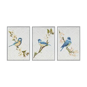 'Trellis Song Birds Blue' 3 Piece Framed Graphic Art Print Set on Wood