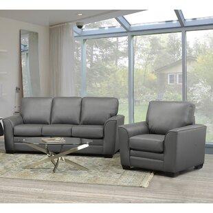 Orren Ellis Nadin 2 Piece Leather Living Room Set