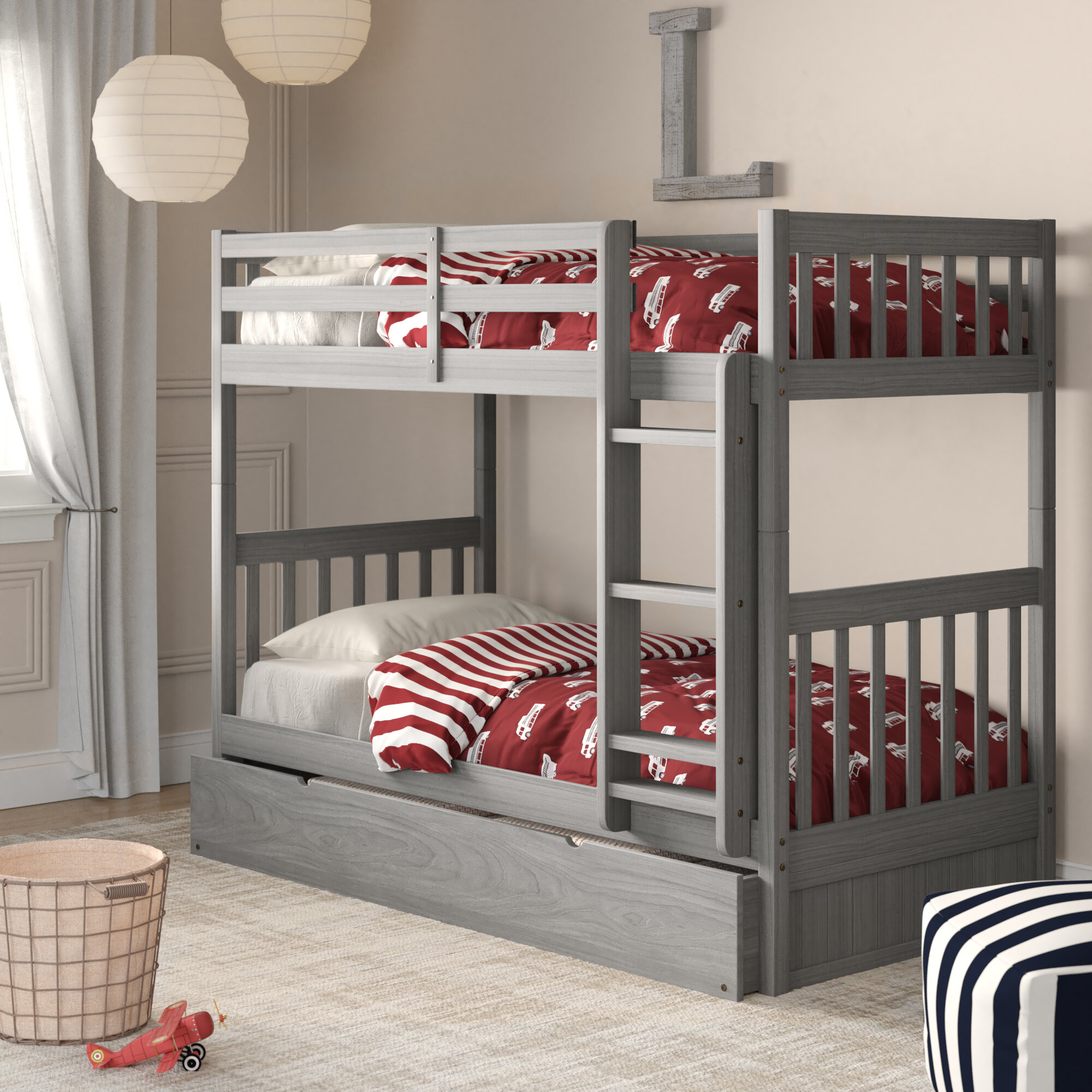 Greyleigh™ Borica Twin Over Twin Bunk Bed with Trundle & Reviews
