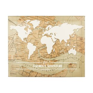 World map push pin wayfair personalized travel the world graphic art on wrapped canvas gumiabroncs Images