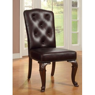 Dark Cherry Upholstered Dining Chair (Set of 2) Hokku Designs