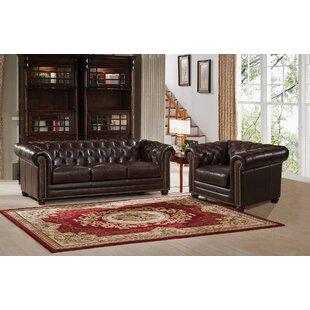 Amax Kensington 2 Piece Leather Living Room Set