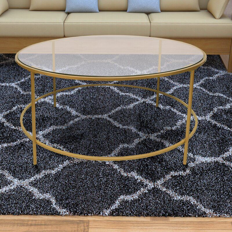 Mercer41 Ducharme Round Metal Framed Coffee Table With Tray Top