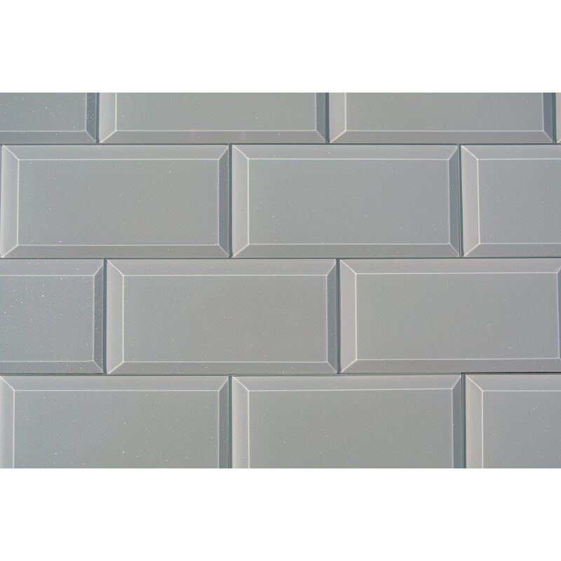 Frosted Elegance Joey 3 X 6 Gl Subway Tile In Glossy Gray
