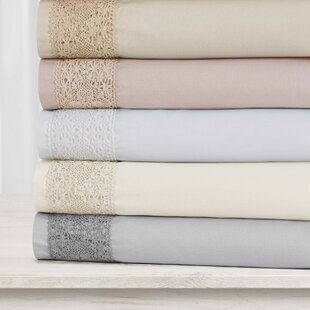 Alexandria 4 Piece Crochet Crystal Lace Solid Color Sheet Set