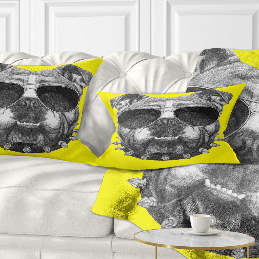 East Urban Home Animal Funny English Bulldog With Collar Lumbar Pillow Wayfair