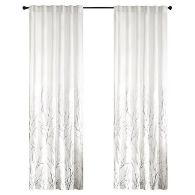 August Grove Gladeview Nature/Floral Room Darkening Rod Pocket Single Curtain Panel Size per Panel: 50 W x 95 L, Color: White