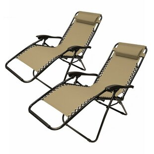Kaylin Reclining Zero Gravity Chair with Cushion (Set of 2)