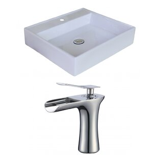 Best Price Ceramic Square Vessel Bathroom Sink with Faucet and Overflow By American Imaginations