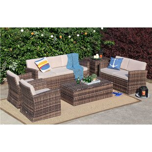 Kylen 6 Piece Rattan Sofa Seating Group with Cushions