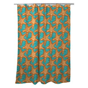 Poplar Starfish in Waves Single Shower Curtain