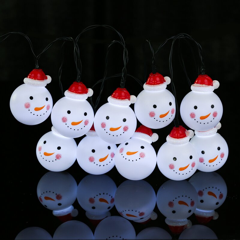 snowman solar outdoor led 10 light string lighting
