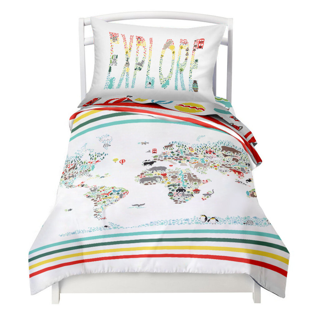 World Map / Explorer Reversible Duvet Cover Set