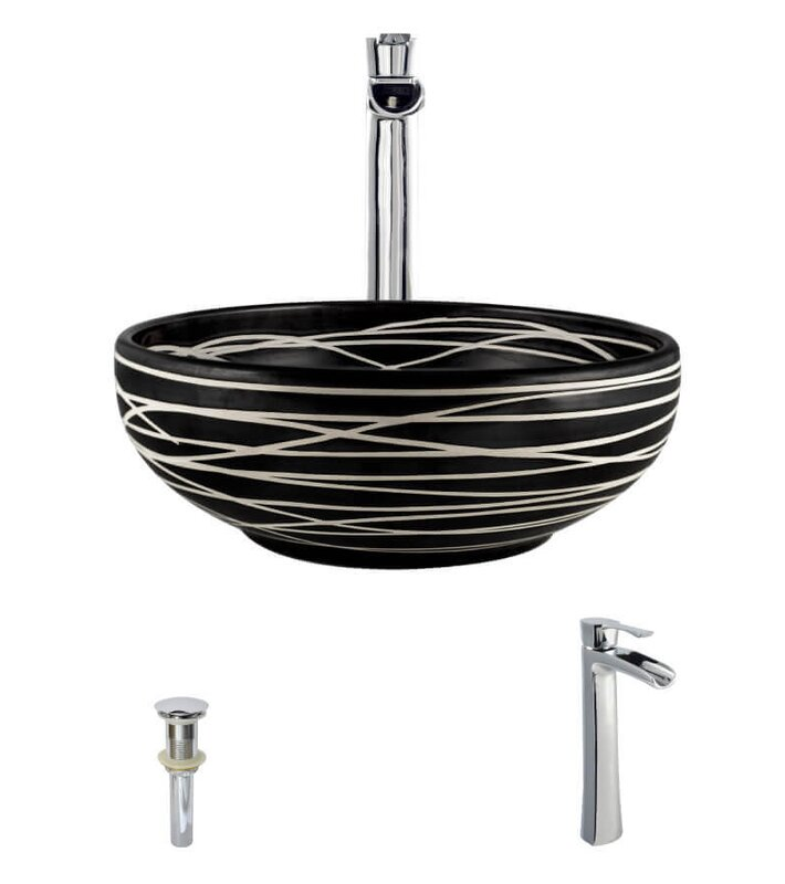 Artisan Ceramic Circular Vessel Bathroom Sink With Faucet