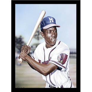 'Hank Aaron on Deck' Print Poster by Darryl Vlasak Framed Memorabilia by Buy Art For Less