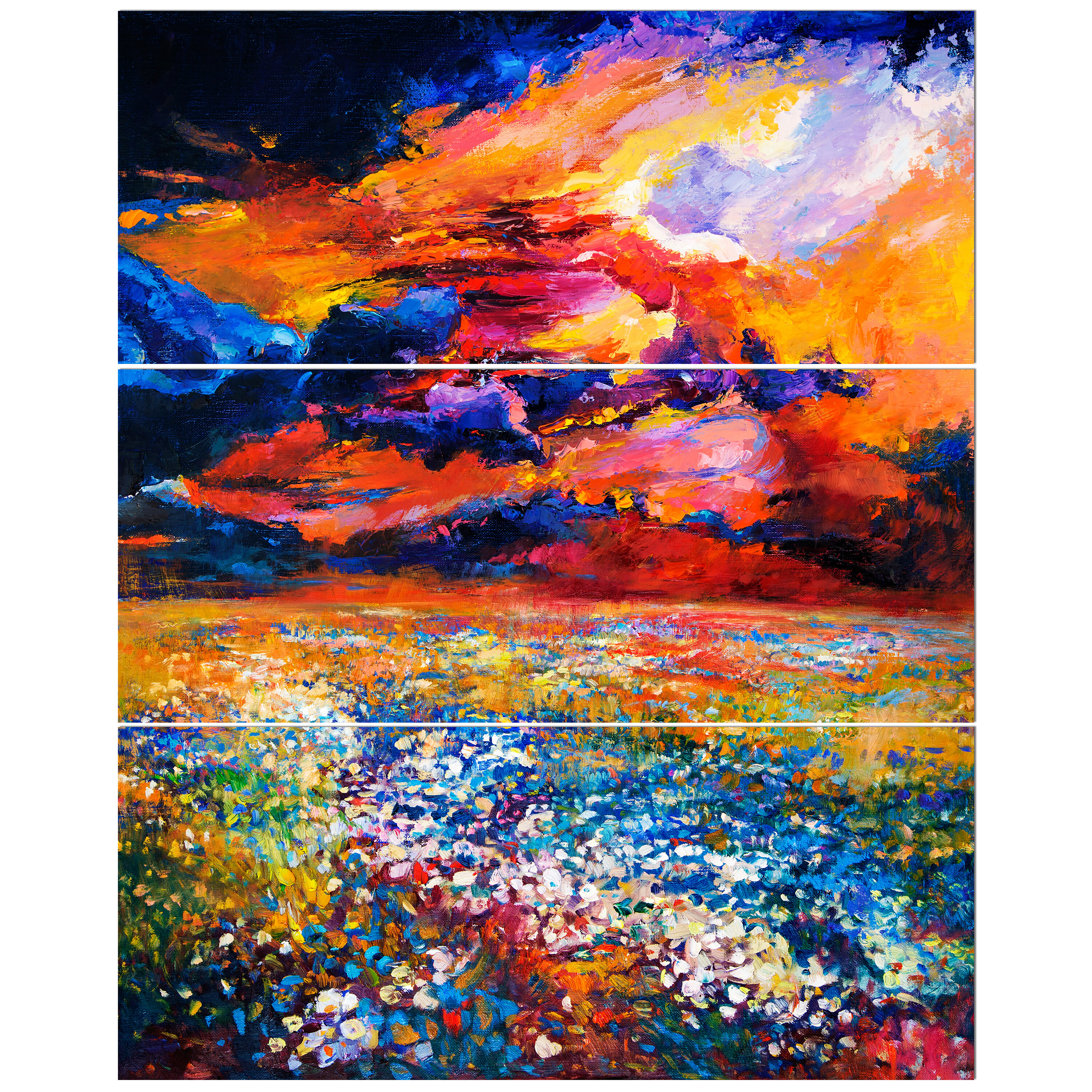 East Urban Home Flower Field At Beautiful Sunset Oil Painting Print Multi Piece Image On Canvas Wayfair Ca