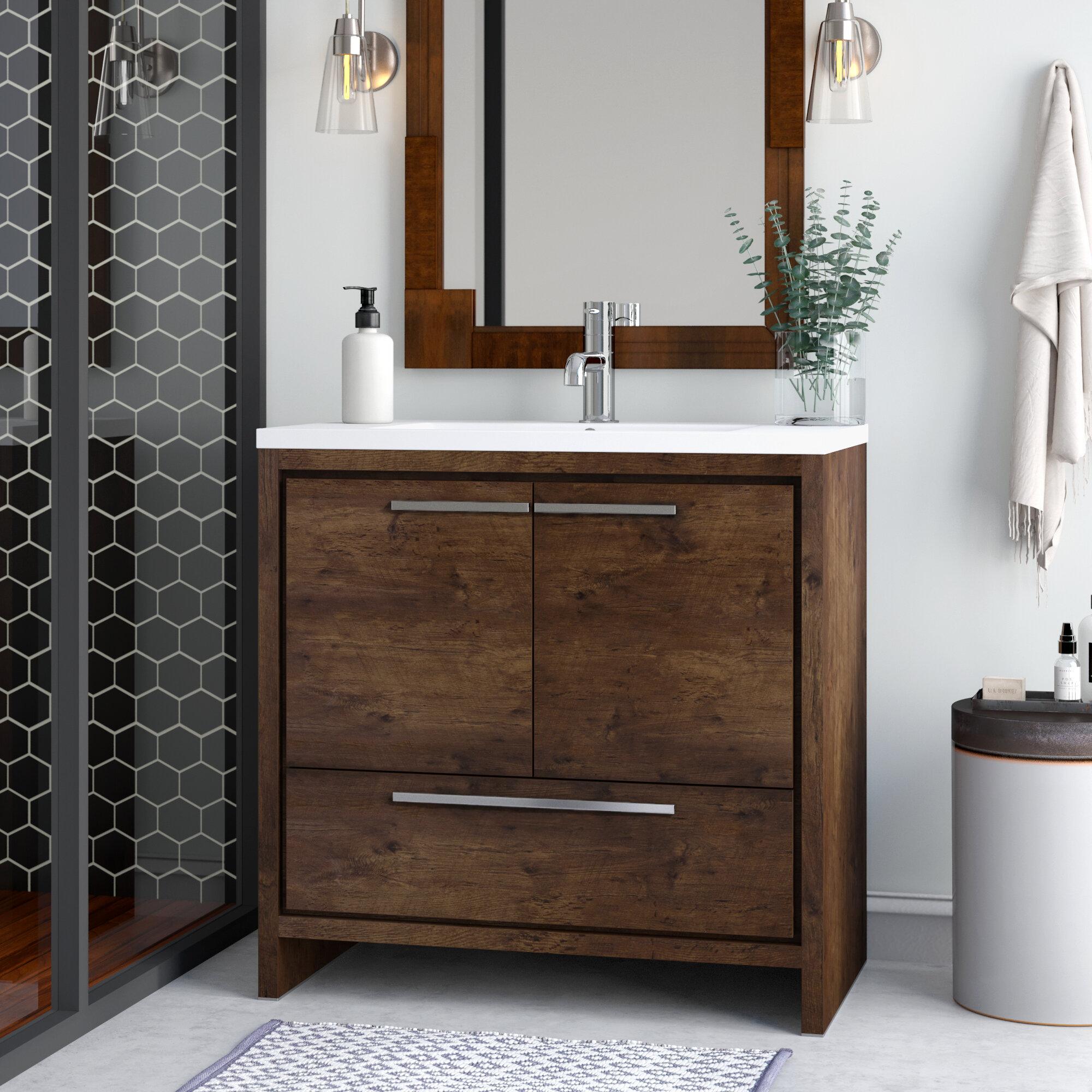 Allmodern Selina Free Standing Modern 36 Single Bathroom Vanity Set Reviews Wayfair Ca