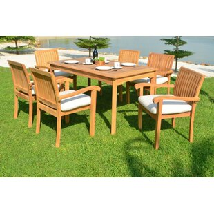 Karla Luxurious 7 Piece Teak Dining Set By Rosecliff Heights