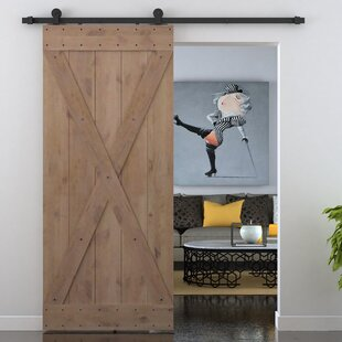 X Overlay Primed Sliding Knotty Solid Wood Panelled Alder Slab Interior Barn Door