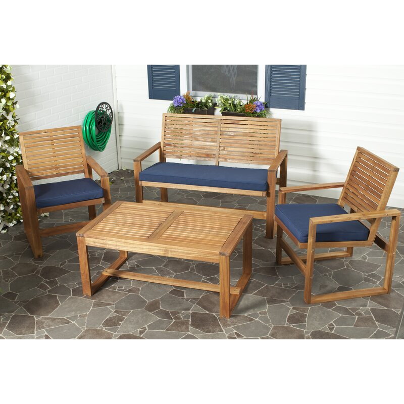 Evenson 4 Piece Sofa Seating Group with Cushions