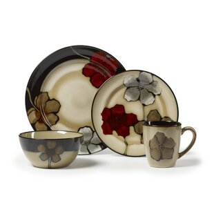 Painted Poppies 16 Piece Dinnerware Set, Service for 4