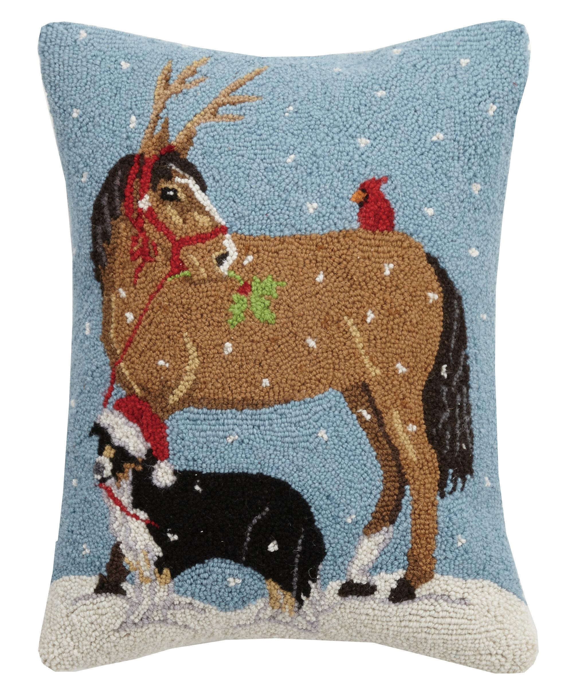 The Holiday Aisle Fierros Dog And Horse Cardinal Hook Wool Throw Pillow Wayfair