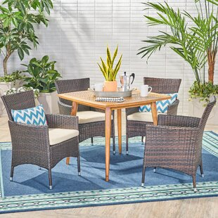 Galloway 5 Piece Teak Dining Set with Cushions