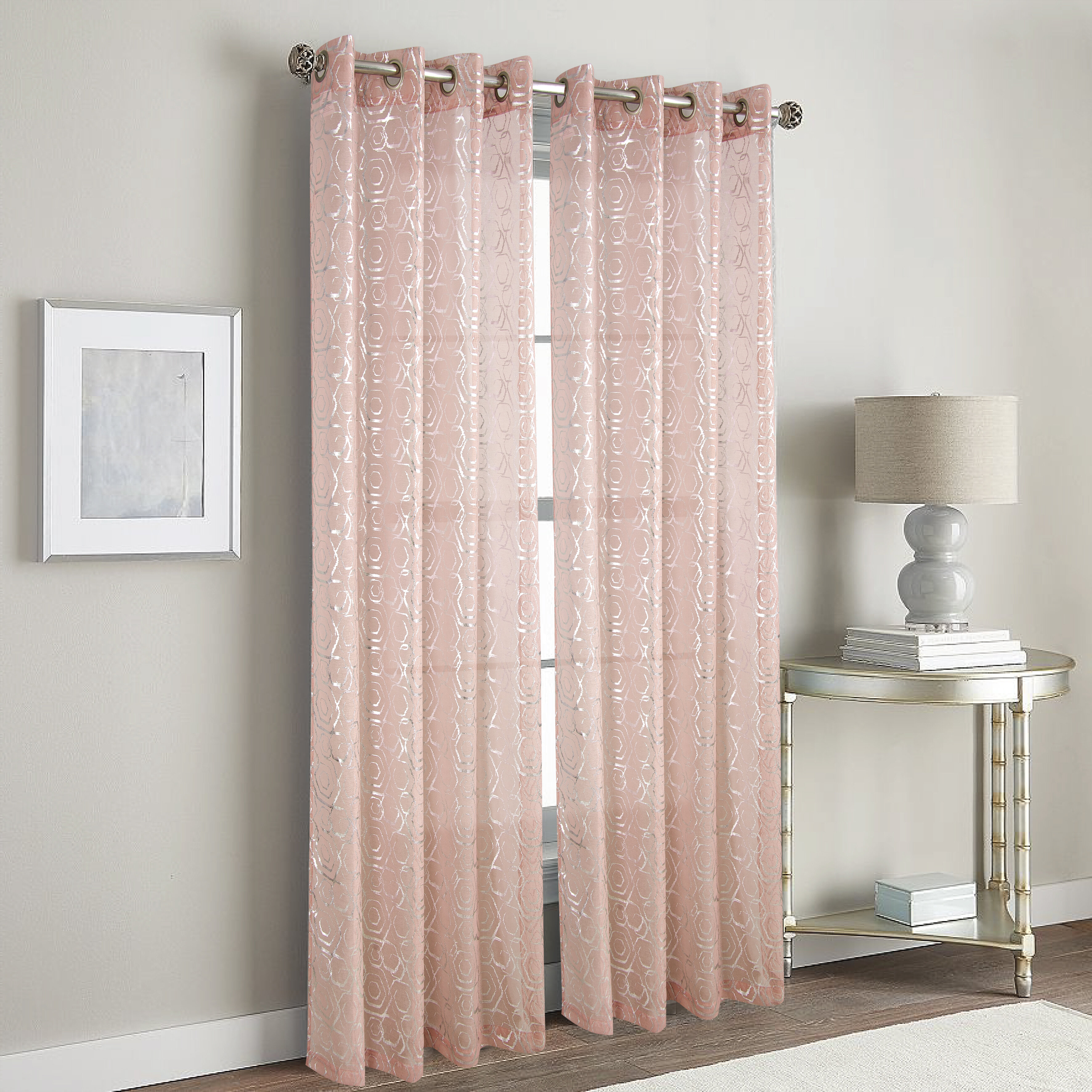 Everly Quinn Hardaway Metallic Geometric Semi Sheer Grommet Single Curtain Panel Wayfair