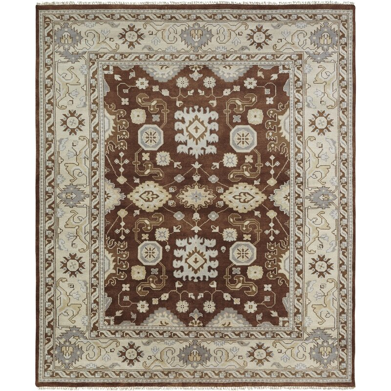 Darby Home Co Misael Oriental Hand Knotted Wool Brown Ivory Area Rug Wayfair