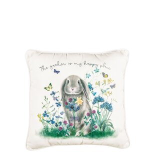 Teddy Rabbit and Flowers Throw Pillow